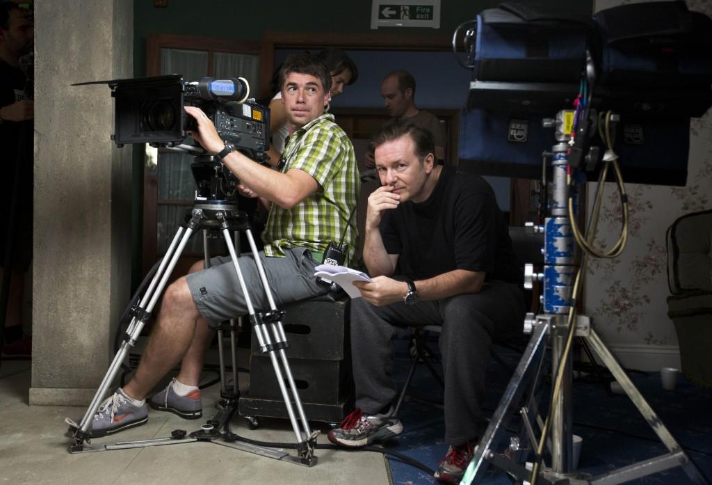 Ricky Gervais filming Derek behind scenes