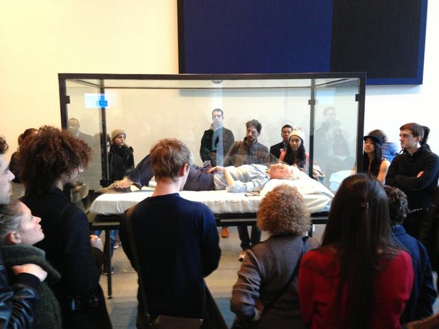 Tilda Swinton sleeping in a box The Maybe MoMA